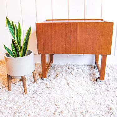 Mid-Century Solid Wood Rolling Rack with Drawer by PortlandRevibe