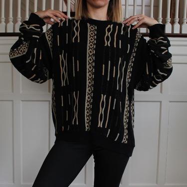 Vintage 80s Coogi Style Textured Pullover Crew Neck Sweater Unisex Size M L by NeonSkyVintageMN