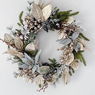 Snowy Glam Pampas Holiday Wreath with Sea Green/Blue Poinsettia and Gold Magnolia Leaves, Boho Christmas Wreath, Holiday Wreath by NovaWreaths