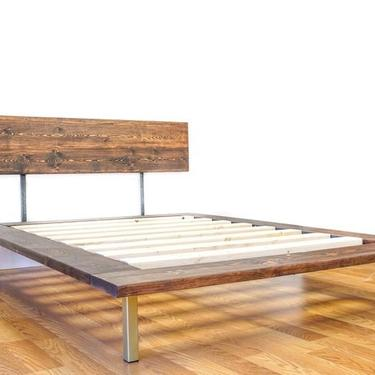 NEW ITEM   Platform Bed And Headboard   Full Size Bed   Gold Metal Legs   Modern Minimal Design by CasanovaHome