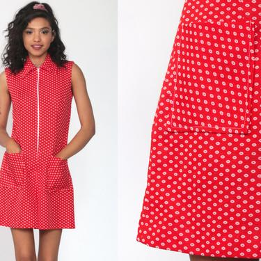 60s Romper Mod SCOOTER DRESS Playsuit Mini Polka Dot Print Red Short Culottes 1960s Twiggy Vintage Sleeveless Sixties Front Zip Small by ShopExile