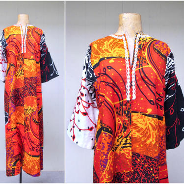 Vintage 1960s Caftan, 60s Psychedelic Print Barkcloth Hippie Festival Maxi Dress, Groovy Hostess Kaftan Loungewear, DEADSTOCK, Size Medium by RanchQueenVintage