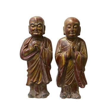 Pair of Vintage Chinese Wood Brown Golden Lacquer Monk Figures ws1534E by GoldenLotusAntiques