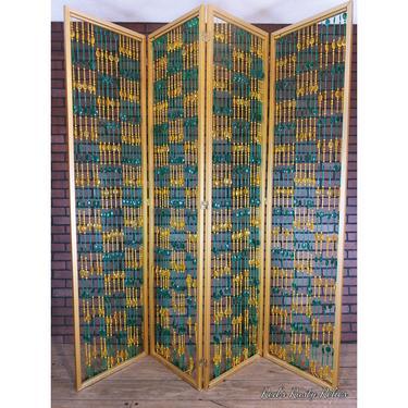 Mid Century Retro Metal Green and Yellow Bead Floor Screen & Dividers 4 Panel Screen Room Divider by RedsRustyRelics