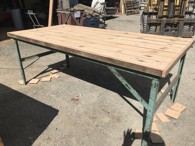 Large industrial shop table with freshly milled rustic fir top. 46w x 93.5L x 36.5h