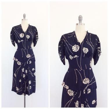 FINAL PAYMENT for MIRANDA ///40s Navy Blue & White Floral Print Rayon Dress / 1940s Vintage Peek-a-boo Sleeve Dress / Medium / Size 10 by CheshireVintageShop