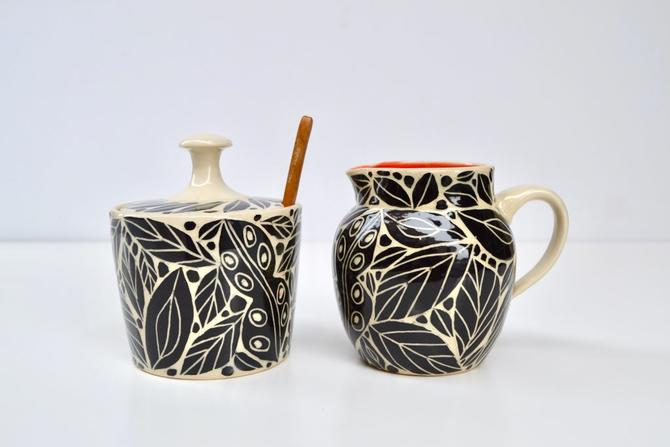 Black Sgraffito Jar Pitcher