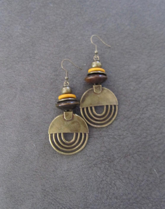 Hammered bronze earrings, geometric earrings, unique mid century modern earrings, ethnic earrings earrings, bohemian earrings, statement by Afrocasian