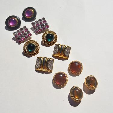 vintage lot 80s 90s clips ons oversized gold amber green magenta statement earrings large jewels ooak 1980s clip on glamorous earring six 6 by levintagecult