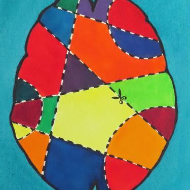 Brain Surgery for Beginners 3 -  original watercolor painting - neuroscience art by artologica