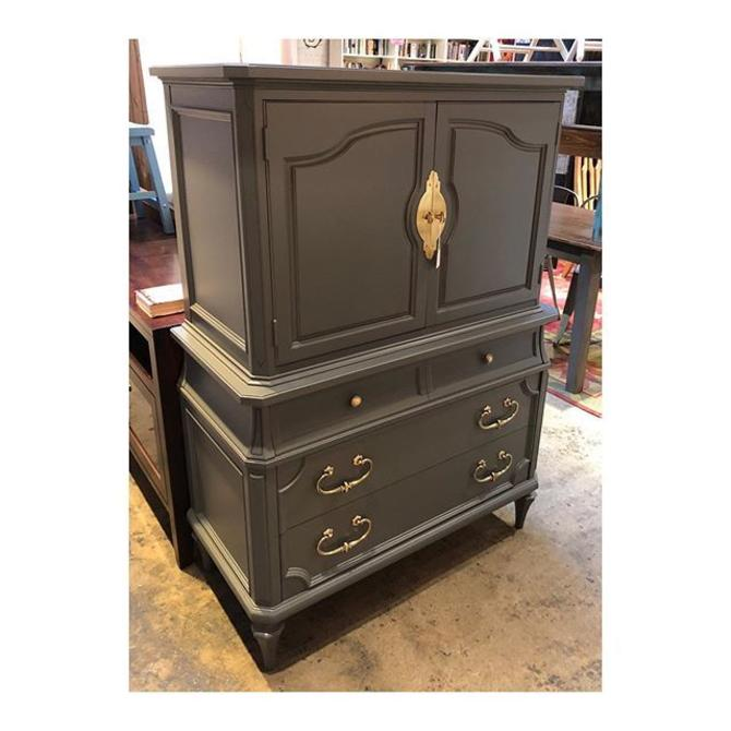 Grey Chest of Drawers with awesome brass hardware //