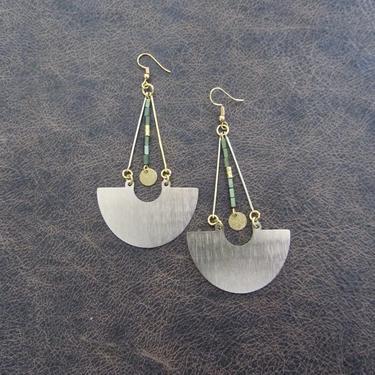 Large gold minimalist earrings, green hematite, mid century modern Brutalist earrings, statement earrings, unique geometric earrings by Afrocasian
