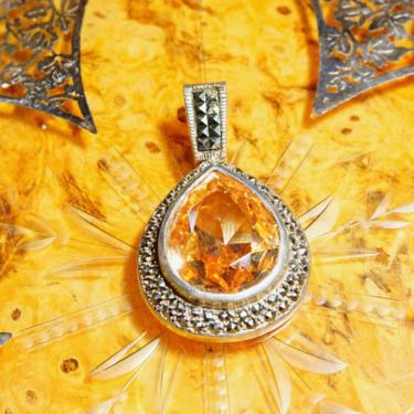 """Vintage Marcasite Encrusted Sterling Silver Citrine Teardrop Pendant, Gorgeous Faceted Gemstone, Dazzling Marcasite Stones, 2"""" L x 1 1/4"""" W by shopGoodsVintage"""