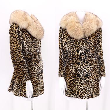 70s vintage leopard print shearling trim faux fur coat M  / vintage cheetah plush fur collar coat 1960s 1970s M-L by ritualvintage