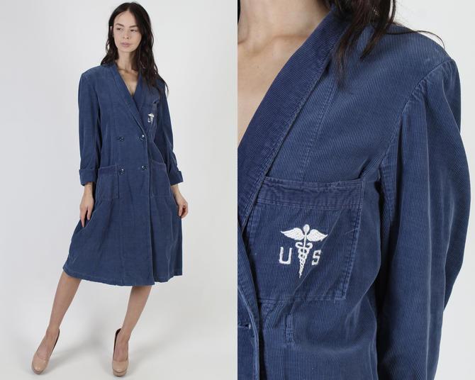 Vintage 40s WWII Nurse Dress / US Navy Uniform Dress / Corduroy Blue Hospital Worker Robe / 1940s Doctor Lab Double Breasted Jacket by americanarchive