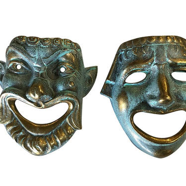 Casted Bronze Roman Style Theater Mask Wall Art, Pair by HarveysonBeverly