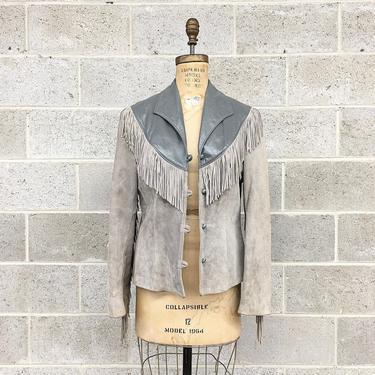 Vintage Fringe Suede Jacket Retro 1980s David James + Size 16 + Blazer Jacket + Grey + Genuine Leather + Western + Womens Apparel by RetrospectVintage215