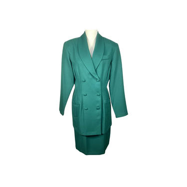 Vintage Clothing Skirt Suit Set Womens Green, 80's Double Breasted Collared Jennifer James Blazer High Rise Skirt Size 12 by DakodaCo