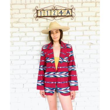 Panhandle Slim Blazer // vintage dress boho hippie jacket blouse 80s southwestern southwest western blanket red // S/M by FenixVintage