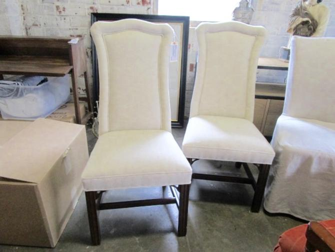 PAIR OF UPHOLSTERED TALL BACK SIDE CHAIRS