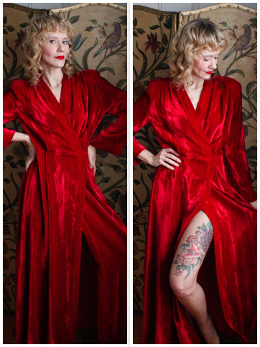 1940s Dressing Gown // Royal Red Velvet Gown // vintage 40s dressing gown by dethrosevintage