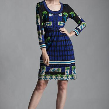knit dress stained glass floral print blue black green long sleeves scoop neck vintage 60 SMALL MEDIUM S M by shoprabbithole