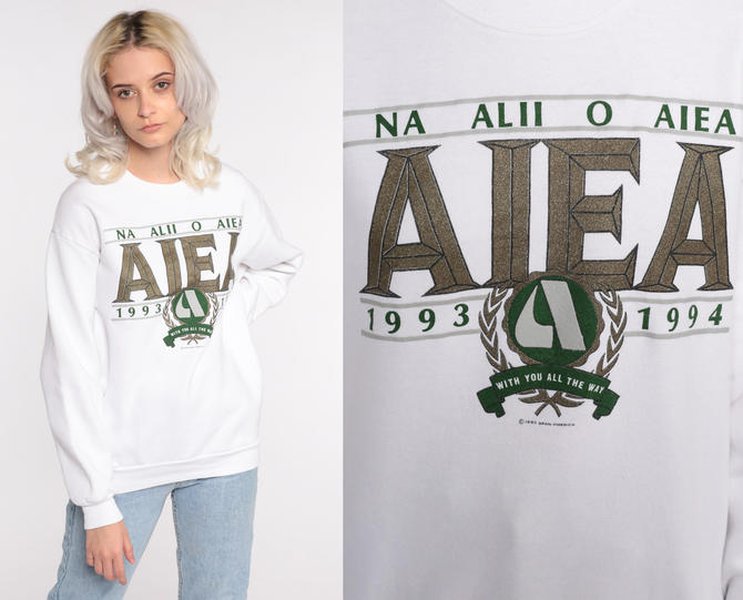 Hawaii Sweatshirt 90s Aiea Sweatshirt White Graphic Print Slouch Pullover 1994 Grey Sweat Shirt Vintage Jerzees Small Medium by ShopExile