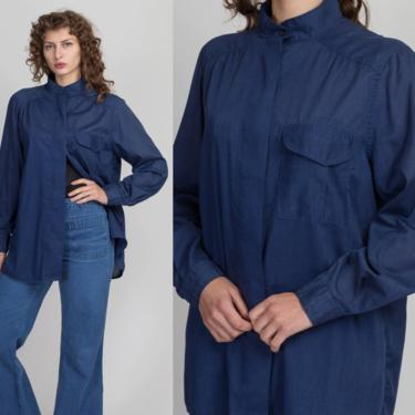 80s Sheer Navy Blue Button Up Shirt - Large   Vintage Oversized Long Sleeve Collared Top by FlyingAppleVintage
