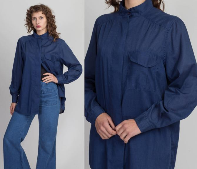 80s Sheer Navy Blue Button Up Shirt - Large | Vintage Oversized Long Sleeve Collared Top by FlyingAppleVintage
