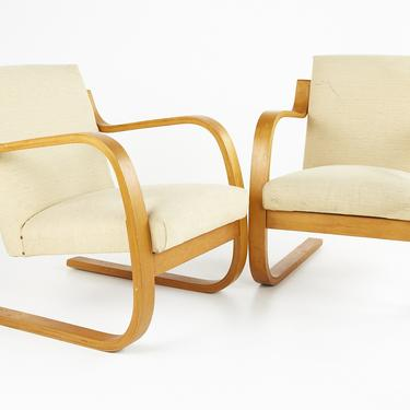 Alvar Aalto 402 Series for Artek Mid Century Cantilever Lounge Chairs - Pair - mcm by ModernHill