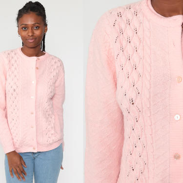 Pink Cardigan Sweater 70s Pointelle Grandma Open Weave Sheer Baby Pink Pastel Sweater Vintage Acrylic Knit 80s Slouchy Medium Large by ShopExile