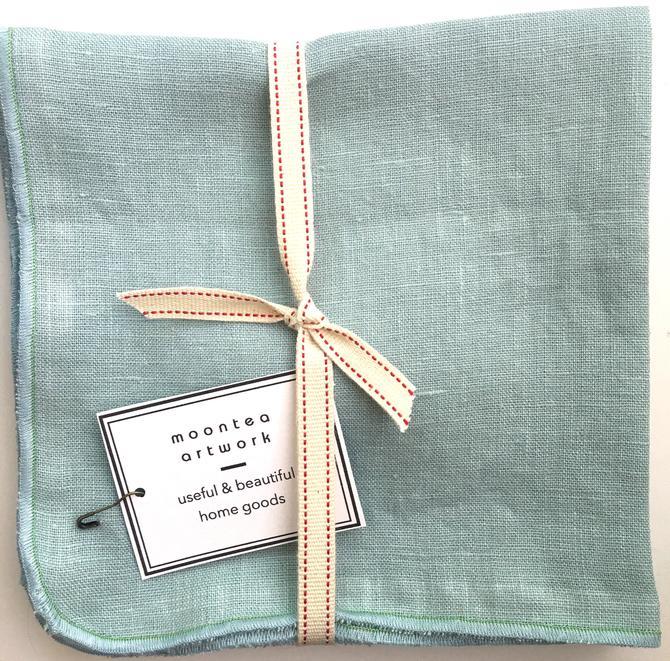 Linen Fabric Napkins, Pale Blue,  Cloth Napkin Set of 4-14 inch, Handmade, Kitchen, eco, Wedding, Minimalist Mid Century Modern, Vegan, Boho by MOONTEAstudio