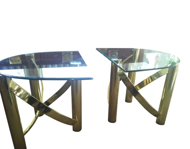 VINTAGE Brass End Tables, Hollywood Regency Design, Mid Century Modern End Tables, Glass and Brass Tables. by 3GirlsAntiques