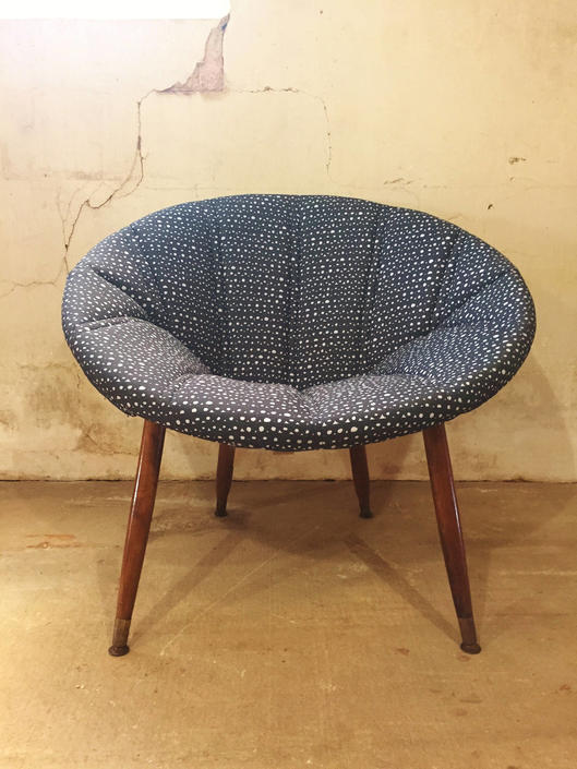 Mid Century Retro Hoop Chair Newly Upholstered in Hable Construction Fabric by ModandOzzie