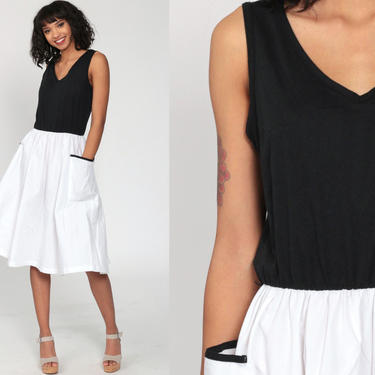 70s Day Dress Black White Dress Midi Dress Boho Sundress High Waisted Pocket V Neck Toni Todd Vintage Retro Sleeveless Plain Small Medium by ShopExile
