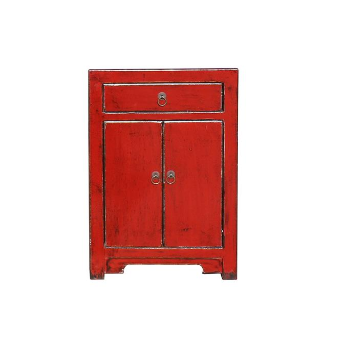 Distressed Oriental Red Lacquer Drawer End Table Nightstand cs5436S