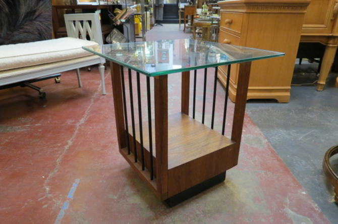 Vintage MCM walnut and glass side table