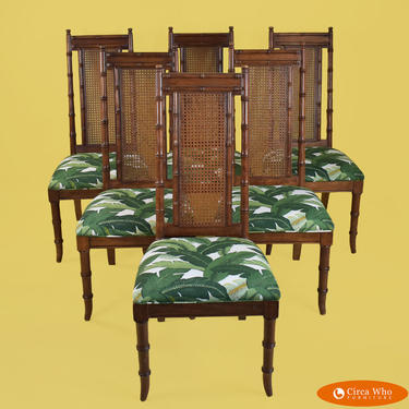 Set of 6 Faux Bamboo Cane Dining Chairs