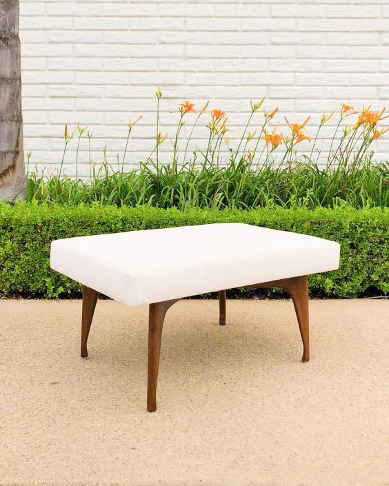 Mid-Century Walnut Bench with new Tweed Upholstery by VintageSupplyLA