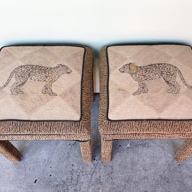 Pair of Upholstered Animal Print Stools