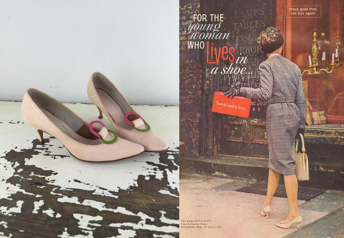 Live in Your Shoes - Vintage 1950s 1960s Shell Pink Leather Shoes Heels w/Colour Rings - 8 by RoadsLessTravelled2