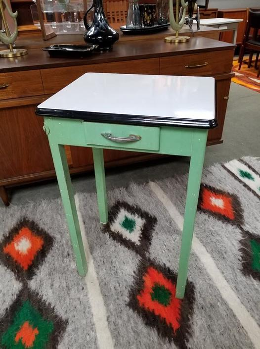 Vintage enamel top side table