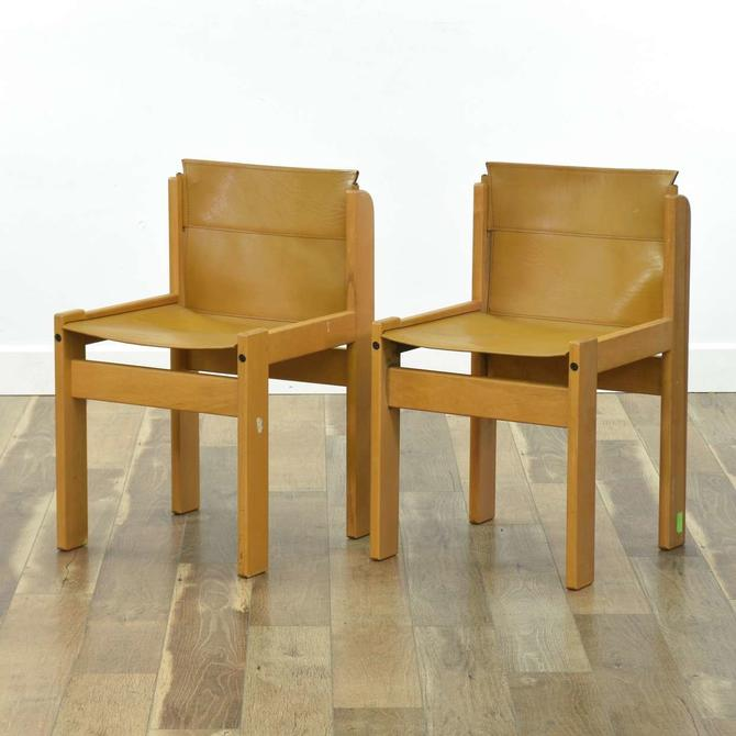 Pair Of Ibisco Mid Century Leather Accent Chairs Italy