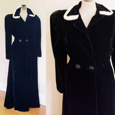 1930s Black Velvet Dress Coat White Ermine Fur Trim Collar /30s Princess Coat Evening Dressy Party Old Hollywood Higbee Cleveland L Loretta by RareJuleVintage