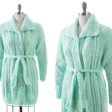 Vintage 1970s Sweater Coat | 70s Chunky Knit Acrylic Mint Blue Green Belted Long Cardigan with Pockets (medium/large/xl) by BirthdayLifeVintage