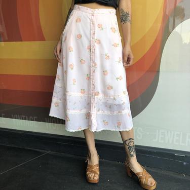 70's 80's Sweet Rose Print Prairie Skirt by laloupevintage