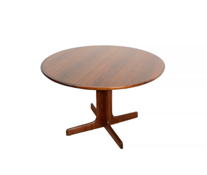 Walnut Round Dining Table Dillingham Leaves Mid Century Modern By - Round dining table with 2 leaves