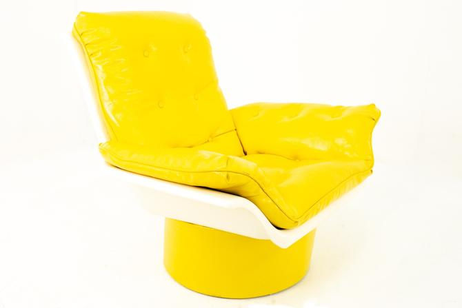 Furtimo Mid Century Yellow Chair with Base - mcm by ModernHill