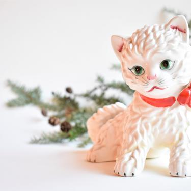 Ceramic Kitten w/ Red Bow   Christmas Cat Present   Gift for Cat Lover   White Kitten w/ Scarlet Ribbon Collar by LostandFoundHandwrks