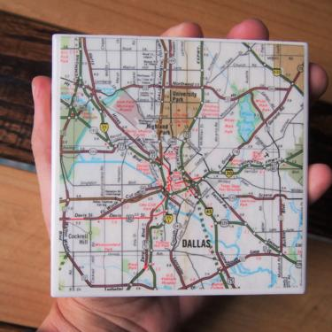 1974 Dallas Texas Vintage Map Coaster - Ceramic Tile Coaster - Repurposed 1970s Phillips 66 Oil Company Road Map - Handmade by allmappedout